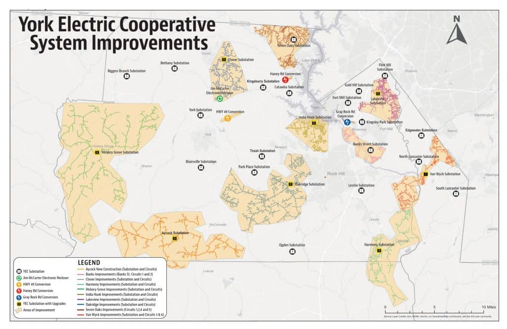 York Electric Cooperative System Improvement Map