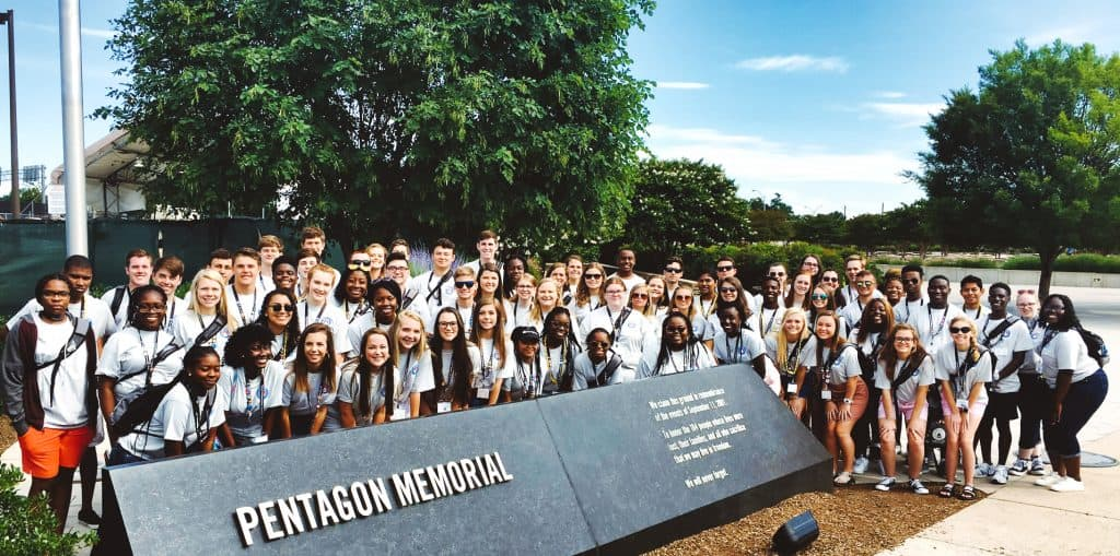 Group of students at the Pentagon 9/11 Memorial
