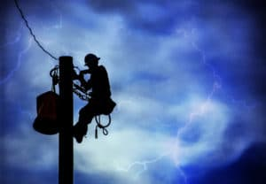 Photo of lineman during storm