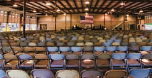 Empty chairs at York Electric's auditorium
