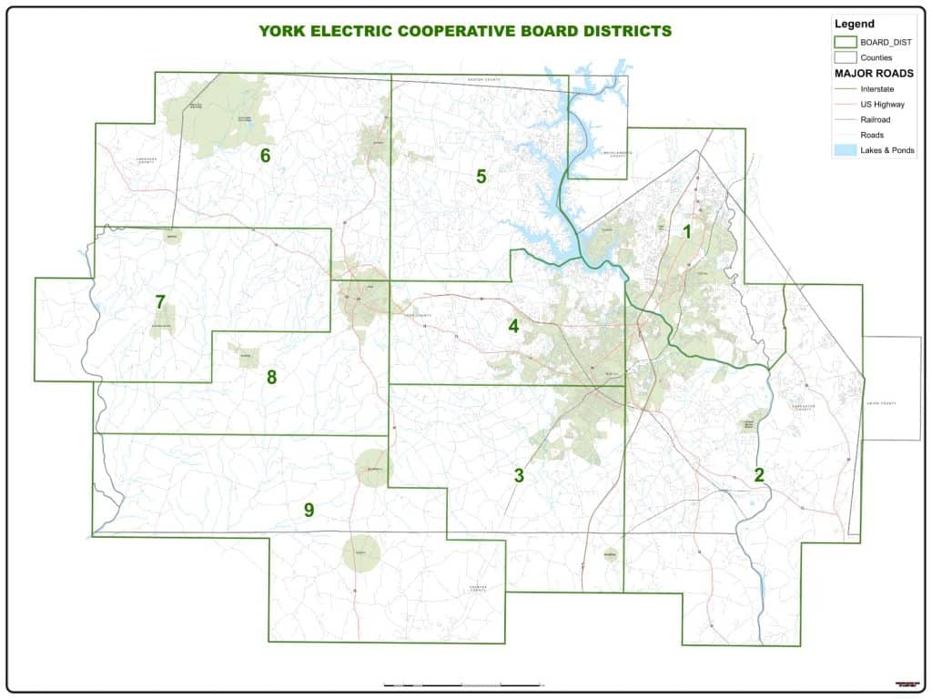 York Electric Cooperative Board District Map