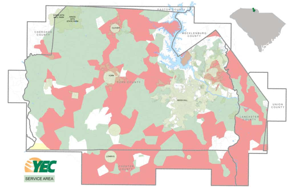 York Electric Cooperative Service Area Map