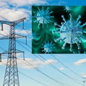 power lines and coronavirus image