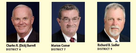 Charles R. (Dick) Burrell (District 6) and Marion Comer (District 7) were elected by acclamation and Richard B. Sadler was re-elected to fill the District 9 seat.