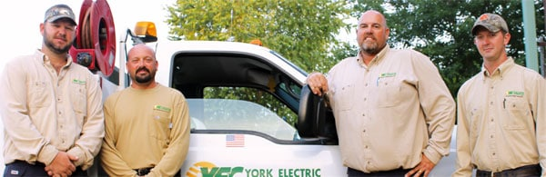 Co-op crews like Jamie Clinton, Jeremy Kimble, Shannon Littleton and Zack Smith wear York Electric uniforms.