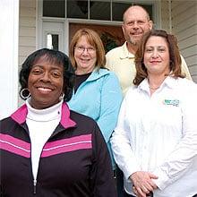 York Electric members Lynette Bell, Jan and Dennis Winkel and their neighbor, Wendy Catledge.