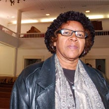 Alberta Anthony in the sanctuary at Bethesda Presbyterian, where she recently became the church's first African-American elder.