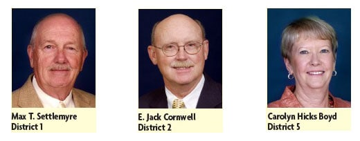 Max T. Settlemyre (District 1), E. Jack Cornwell (District 2) and Carolyn Hicks Boyd (District 5).
