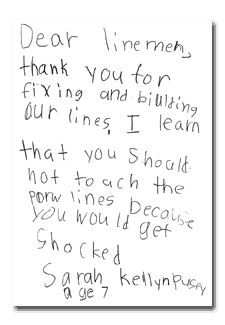 A note from 7-year-old Sarah Pusey that reads: Dear linemen, thank you for fixing and building our lines...