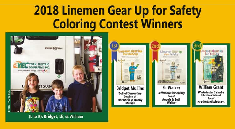 2018 Linemen Gear Up for Safety Coloring Contest Winners