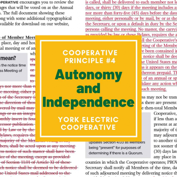Cooperative Principle #4 is Autonomy and Independence