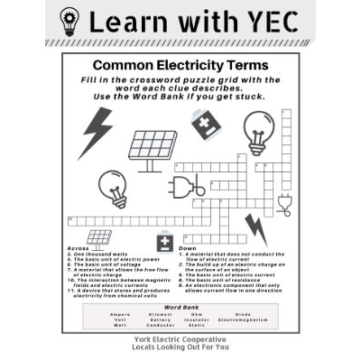 Pdf Common Electricity Terms Crossword Puzzle York Electric Cooperative Inc