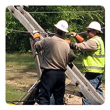 YEC Linemen repairing power lines