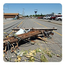 Downed power lines after tornado.